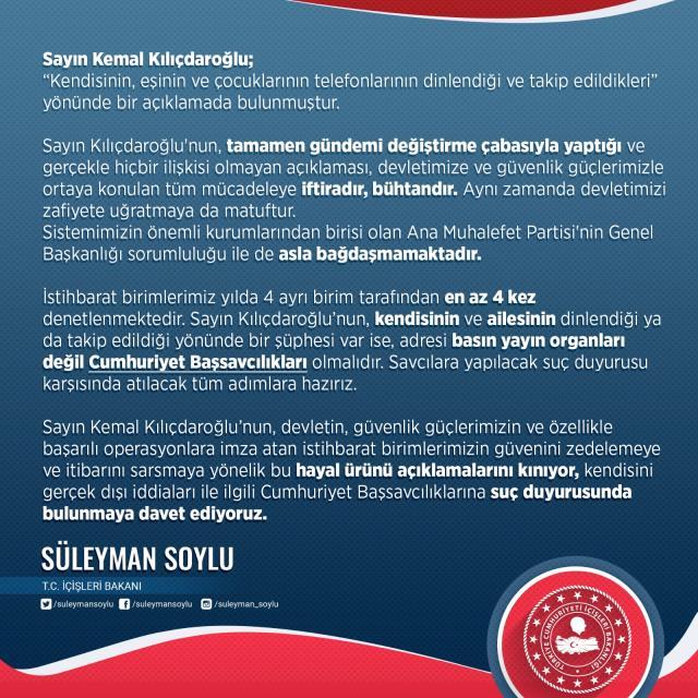 Son Dakika! İçişleri Bakanı Soylu'dan, Kılıçdaroğlu'nun 'Takip ediliyorum' açıklamasına yanıt: Tamamen gündemi değiştirme çabası